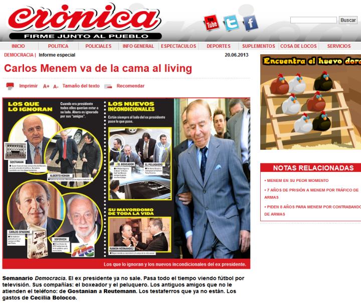 Carlos Menem va de la cama al living