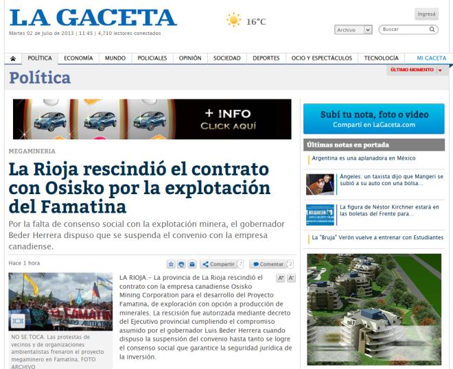 La Rioja rescindió el contrato con Osisko por la explotación del Famatina - La Gaceta