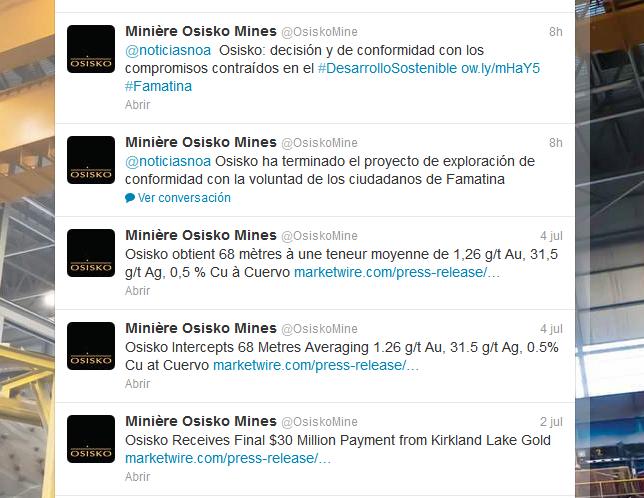 Minière Osisko Mines (OsiskoMine) en Twitter