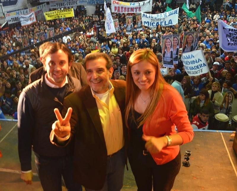 Acto multitudinario en Facundo. Beder Herrera con Tere Madera y Felipe Álvarez
