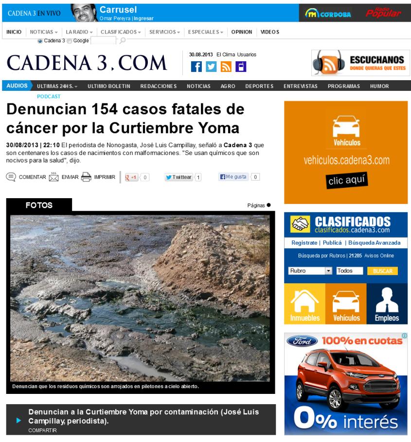 Denuncian 154 casos fatales de cáncer por la Curtiembre Yoma
