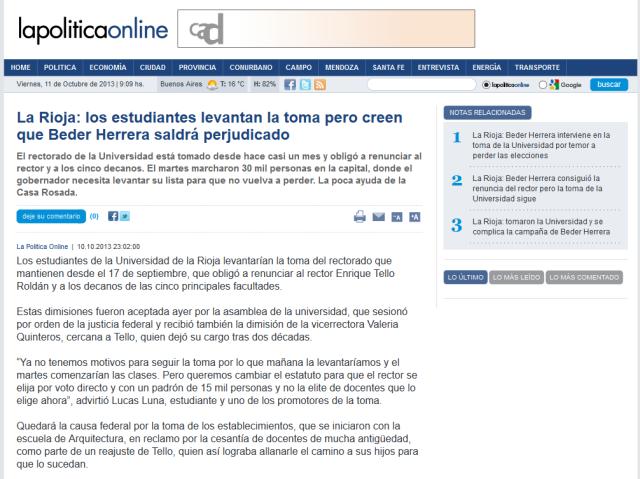 La Rioja- los estudiantes levantan la toma pero creen que Beder Herrera saldrá perjudicado - lapoliticaonline.com