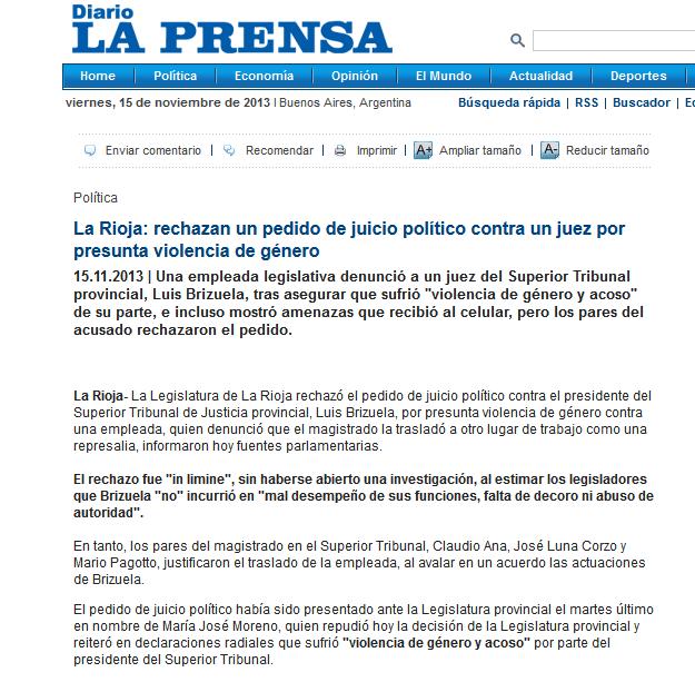 La Rioja- rechazan un pedido de juicio político contra un juez por presunta violencia de género - Política - Diario La Prensa
