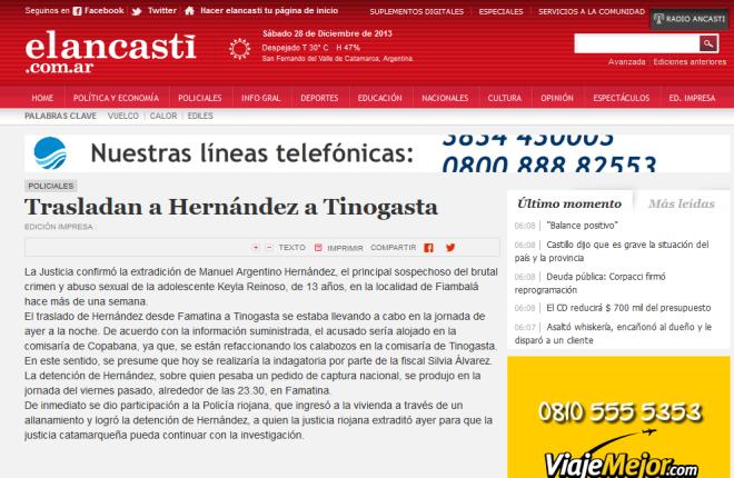 Trasladan a Hernández a Tinogasta - Policiales - El Ancasti de Catamarca