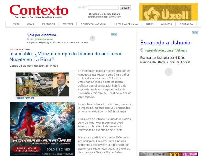 Contexto.com.ar   Insaciable  ¿Manzur compró la fábrica de aceitunas Nucete en La Rioja