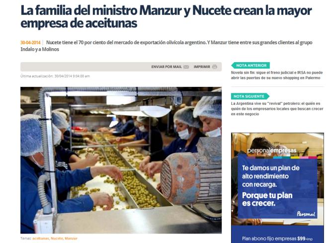 La familia del ministro Manzur y Nucete crean la mayor empresa de aceitunas