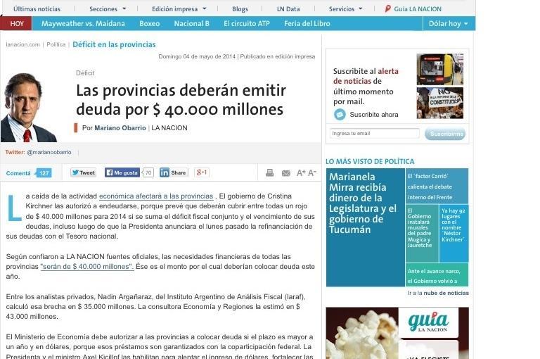 La Provincia se endeudó en 1.100 millones, según LaNación
