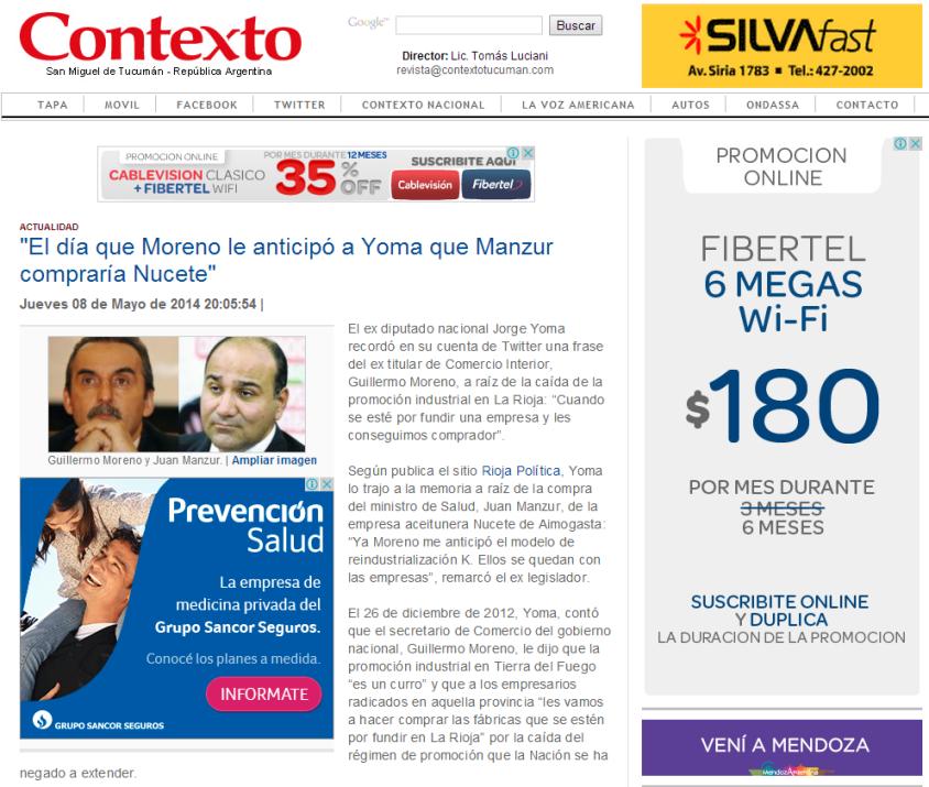 Contexto.com.ar    El día que Moreno le anticipó a Yoma que Manzur compraría Nucete