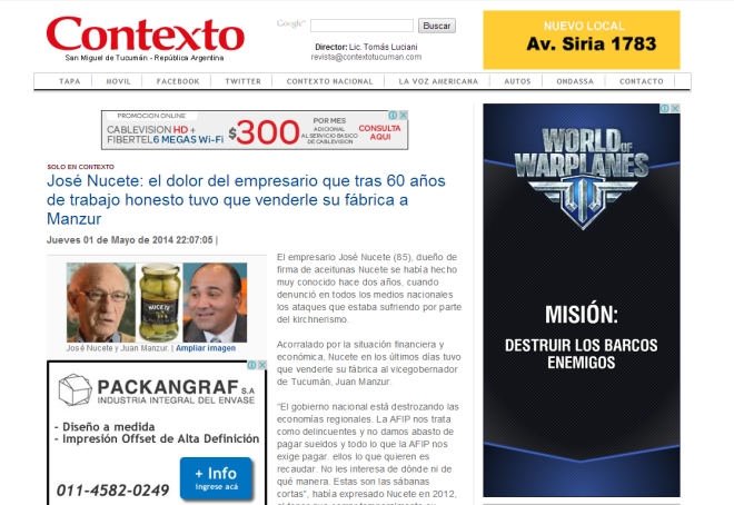Contexto.com.ar   José Nucete  el dolor del empresario que tras 60 años de trabajo honesto tuvo que venderle su fábrica a Manzur