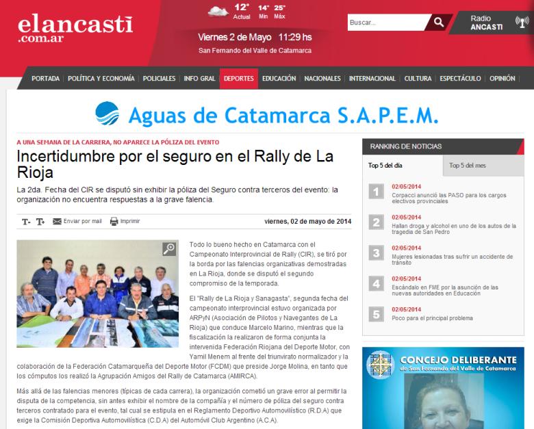 Incertidumbre por el seguro en el Rally de La Rioja   El Ancasti de Catamarca