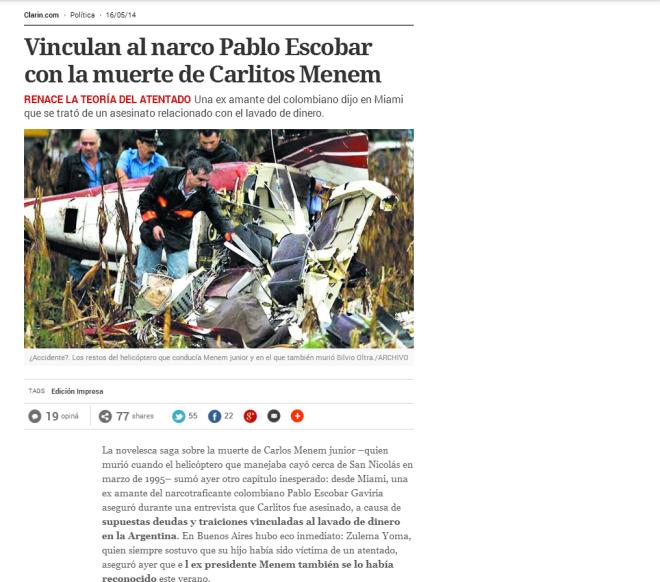 Vinculan al narco Pablo Escobar con la muerte de Carlitos Menem