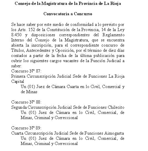 Convocatoria a concurso para designación de jueces