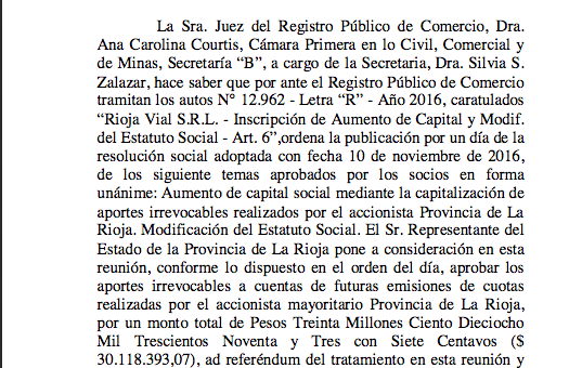 Capitalizan la empresa estatal Rioja Vial por más de $30 millones