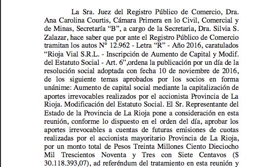 Capitalizan la empresa estatal Rioja Vial por más de $30millones