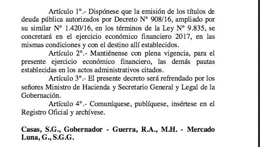 Los decretos reglamentarios por endeudamiento hasta U$S 300millones