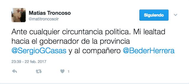 matias-troncoso-en-twitter-ante-cualquier-circuntancia-politica-mi-lealtad-hacia-el-gobernador-de-la-provincia-sergiogcasas-y-al-compan%cc%83ero-bederherrera