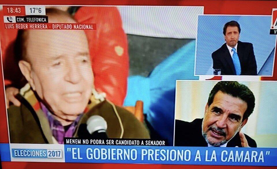 """Beder Herrera dijo que es una """"aberración jurídica"""" la inhabilitación de Menem"""