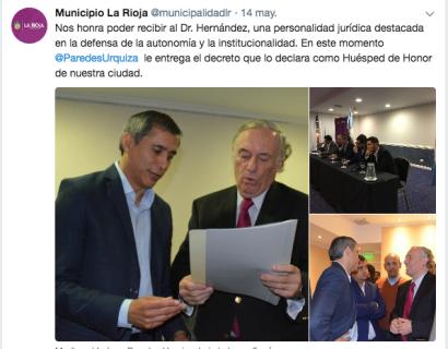 Municipio La Rioja municipalidadlr Twitter