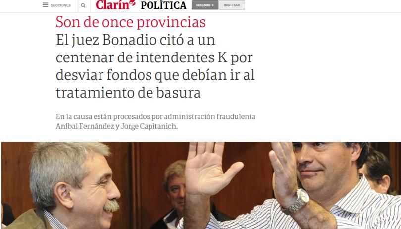 El juez Bonadio citó a un centenar de intendentes K por desviar fondos que debían ir al tratamiento de basura 01 06 2018 Clarín.com