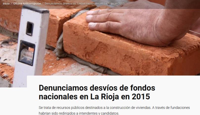 Denunciamos desvíos de fondos nacionales en La Rioja en 2015 Argentina.gob.ar