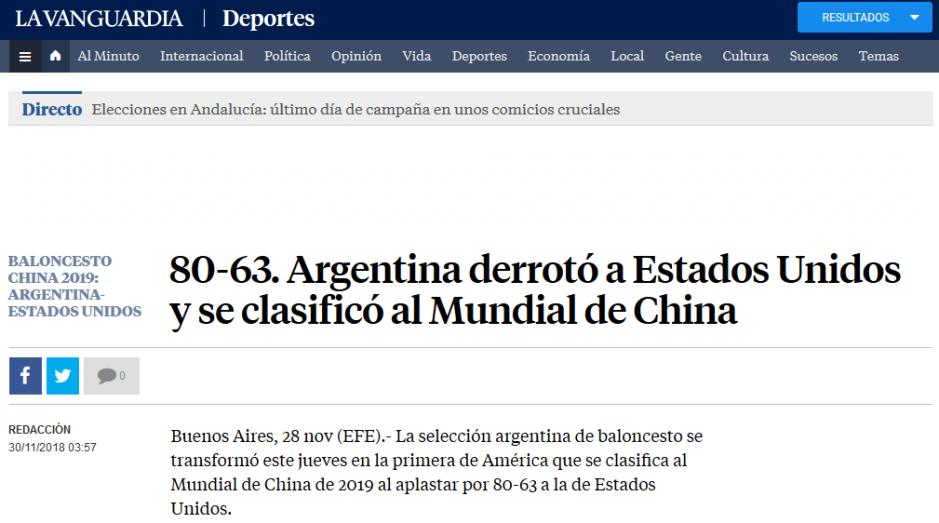 80 63. Argentina derrotó a Estados Unidos y se clasificó al Mundial de China