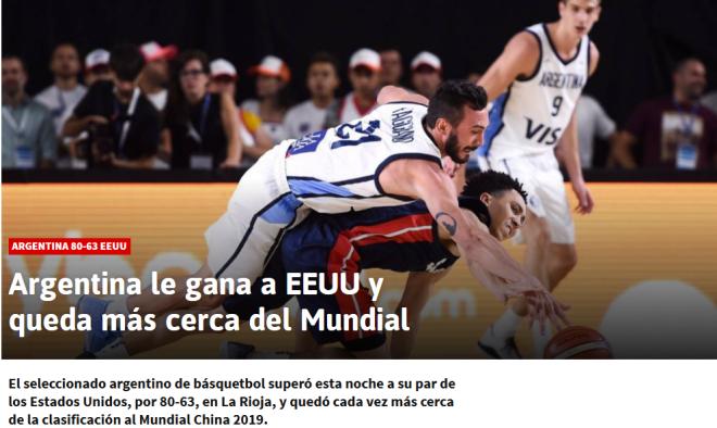 Argentina le gana a EEUU y queda más cerca del Mundial AS Argentina