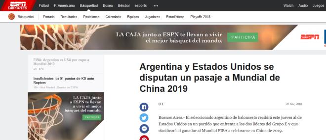 Argentina y Estados Unidos se disputan un pasaje a Mundial de China 2019