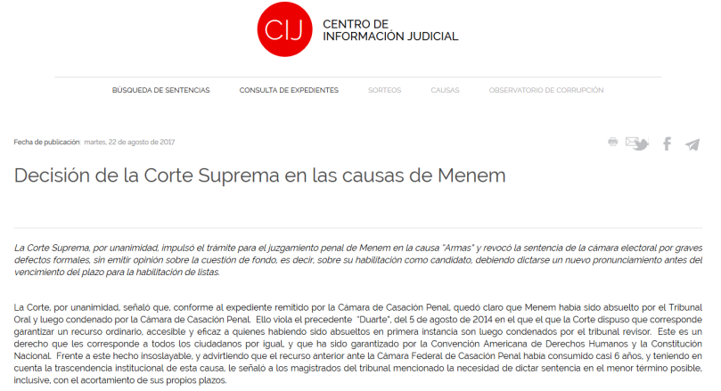 CIJ Decisión de la Corte Suprema en las causas de Menem