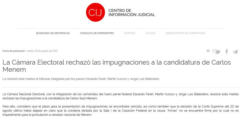 CIJ La Cámara Electoral rechazó las impugnaciones a la candidatura de Carlos Menem