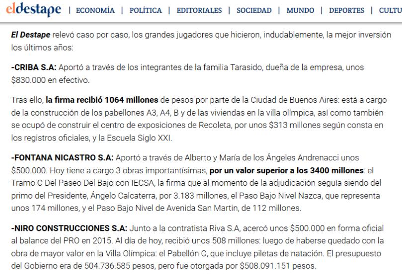 El Gobierno le adjudicó 13 mil millones en obras a los financistas de su campaña Macri Presidente