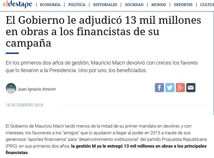 El Gobierno le adjudicó 13 mil millones en obras a los financistas de su campaña Macri Presidente(1)