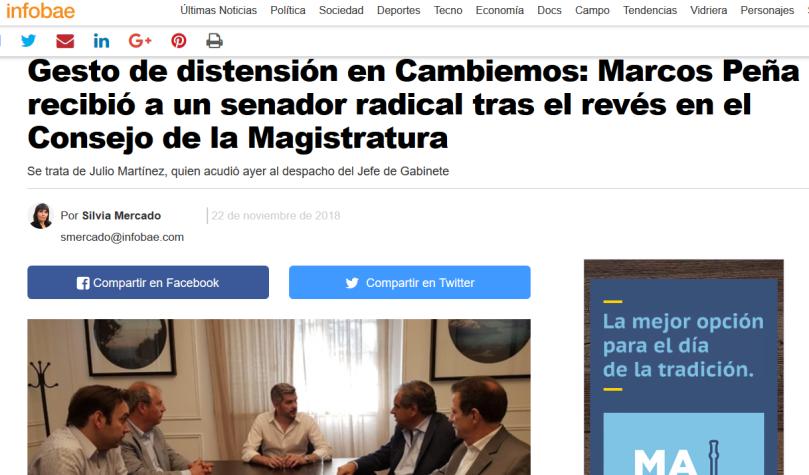 Gesto de distensión en Cambiemos Marcos Peña recibió a un senador radical tras el revés en el Consejo de la Magistratura Infobae