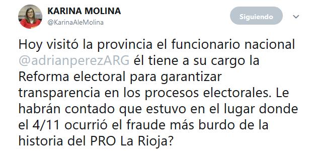 KARINA MOLINA en Twitter Hoy visitó la provincia el funcionario nacional adrianperezARG él tiene a su cargo la Reforma electoral para garantizar transparencia en los procesos electo