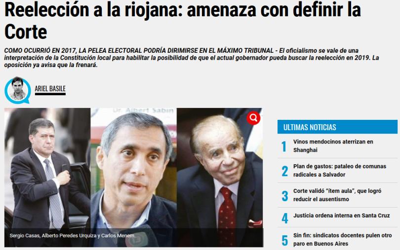 Reelección a la riojana amenaza con definir la Corte Ambito.com