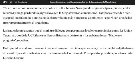 Suspenden sesiones en el Congreso por la crisis de Cambiemos en la Magistratura