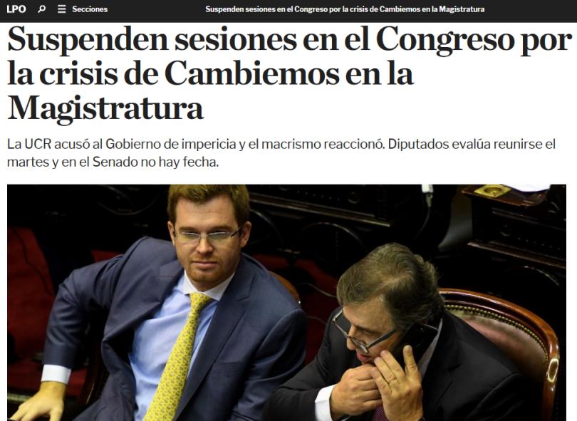 Suspenden sesiones en el Congreso por la crisis de Cambiemos en la Magistratura(1)