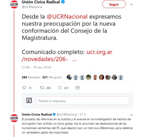 Unión Cívica Radical en Twitter Desde la UCRNacional expresamos nuestra preocupación por la nueva conformación del Consejo de la Magistratura. Comunicado completo https t.co dv