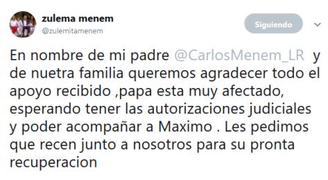 zulema menem en Twitter En nombre de mi padre CarlosMenem_LR y de nuetra familia queremos agradecer todo el apoyo recibido papa esta muy afectado esperando tener las autorizaciones