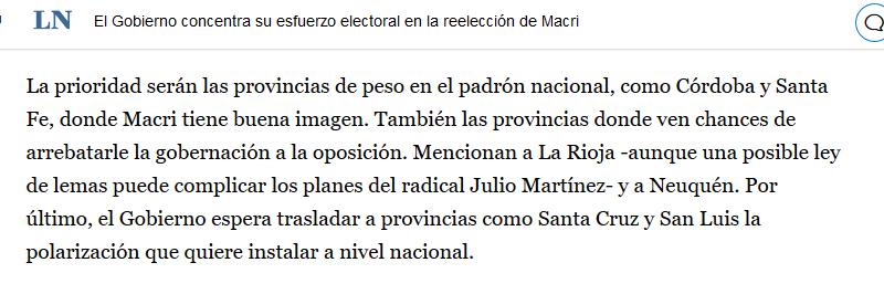 El Gobierno concentra su esfuerzo electoral en la reelección de Macri LA NACION