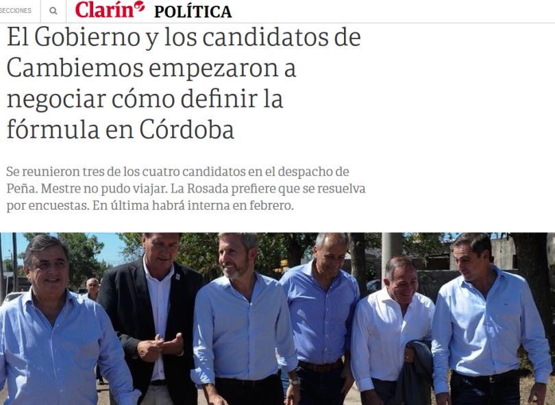 El Gobierno y los candidatos de Cambiemos empezaron a negociar cómo definir la fórmula en Córdoba 13 12 2018 Clarín.com