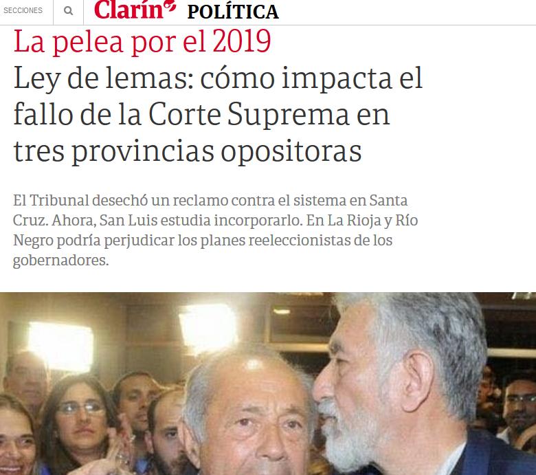 Ley de lemas cómo impacta el fallo de la Corte Suprema en tres provincias opositoras 13 12 2018 Clarín.com