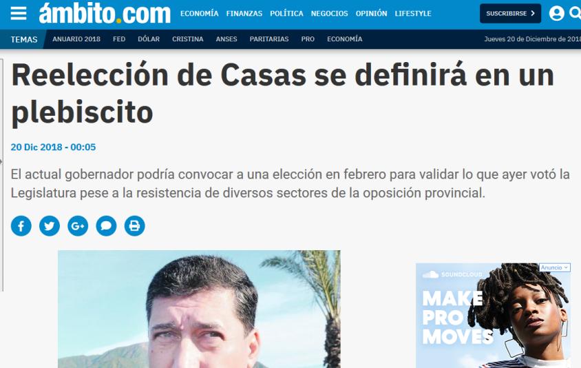 Reelección de Casas se definirá en un plebiscito Ámbito Financiero Armas Cambiemos Gobernador Justicia PASO
