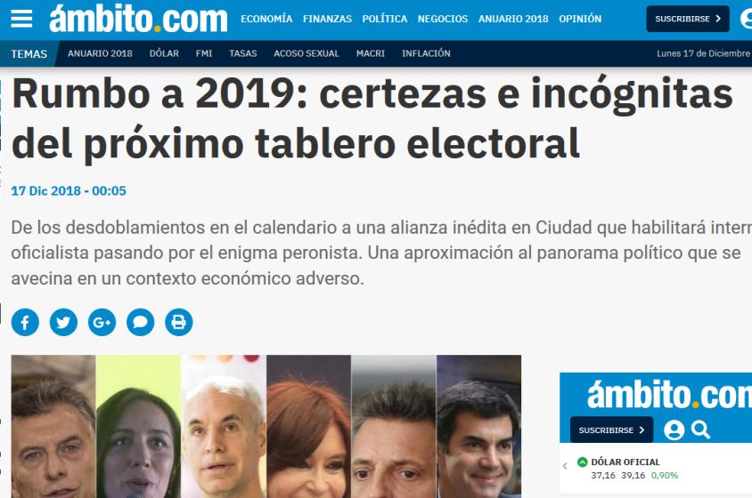 Rumbo a 2019 certezas e incógnitas del próximo tablero electoral Anuario 2018 Mauricio Macri Elecciones 2019 Cristina