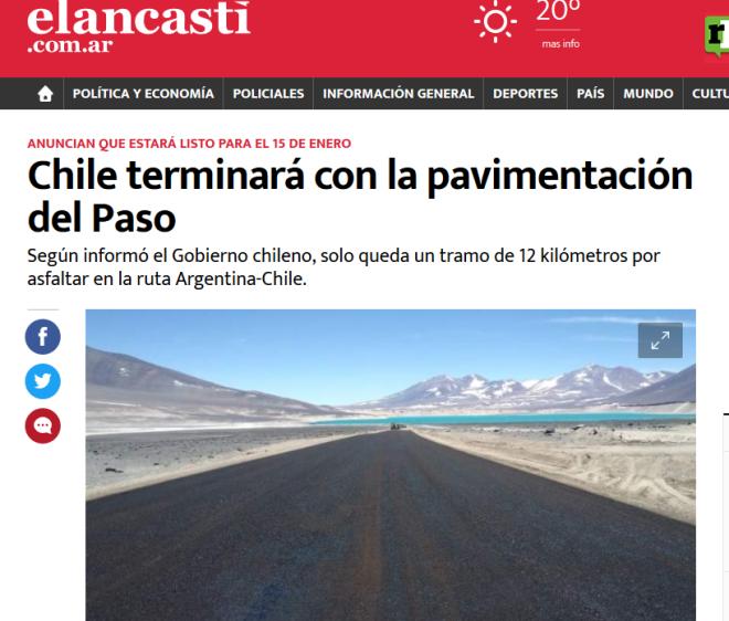 Chile terminará con la pavimentación del Paso El Ancasti Diario de Catamarca