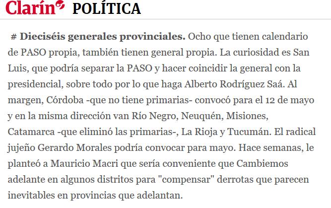 Crece la dispersión electoral a lo largo de 2019 podría haber unas 30 votaciones en el país 02 12 2018 Clarín.com