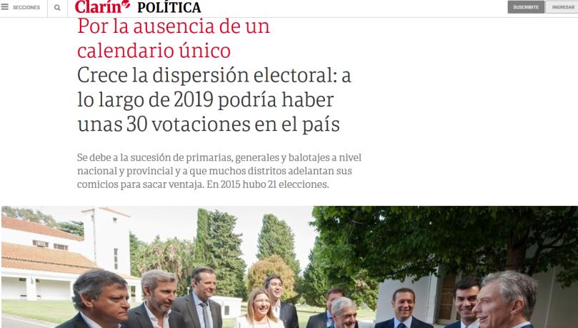 Crece la dispersión electoral a lo largo de 2019 podría haber unas 30 votaciones en el país 02 12 2018 Clarín.com(1)