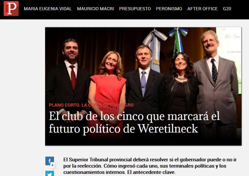 El club de los cinco que marcará el futuro político de Weretilneck