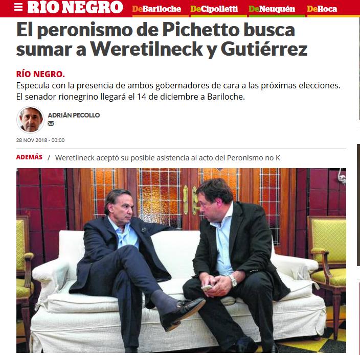 El peronismo de Pichetto busca sumar a Weretilneck y Gutiérrez