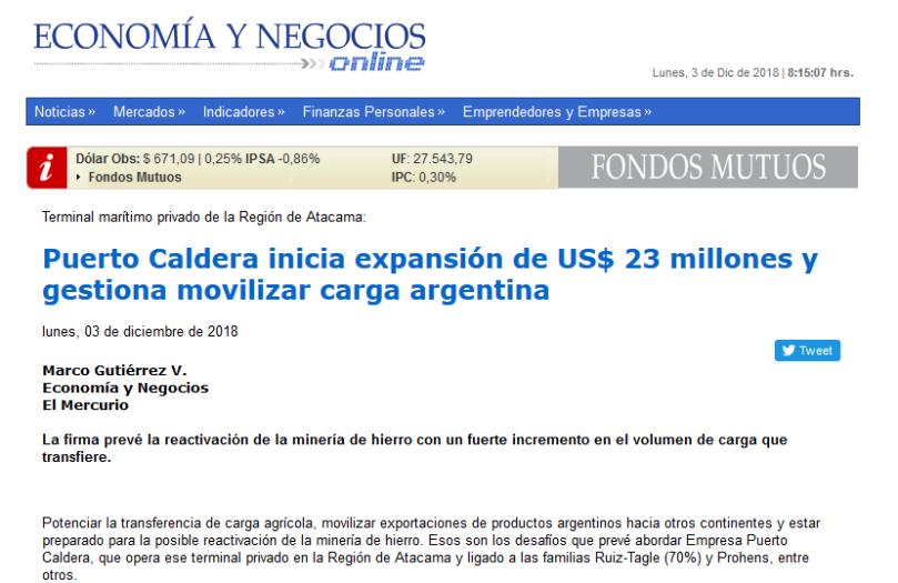 EyN Puerto Caldera inicia expansión de US 23 millones y gestiona movilizar carga argentina