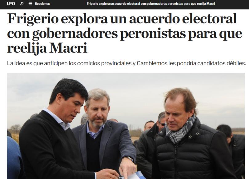 Frigerio explora un acuerdo electoral con gobernadores peronistas para que reelija Macri
